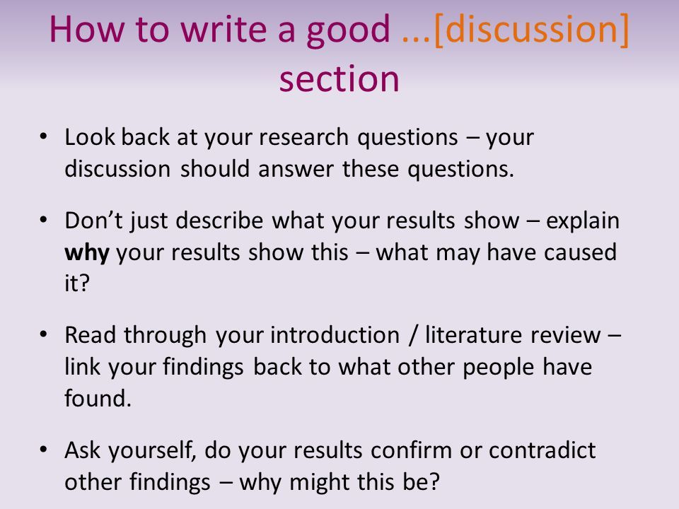 Dissertation results and discussion section